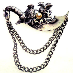 gothic dragon sword shield chain brooch pin sweet!